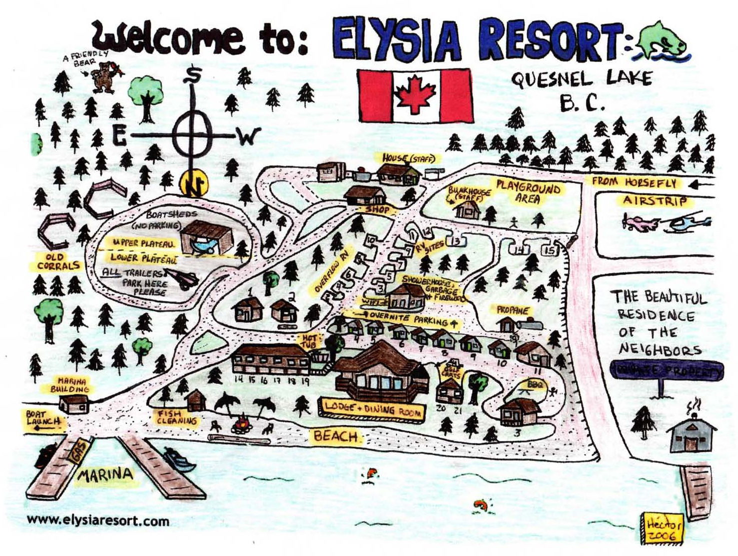 Lodging and Elysia Resort Map