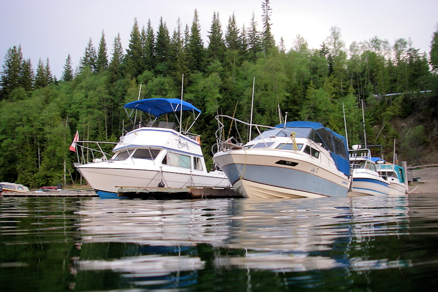 Boats at Elysia Resort Marina, Quesnel Lake, BC